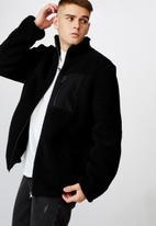 Factorie - Sherpa zip through jacket - black