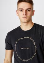 Factorie - Salvation slim graphic T-shirt - washed black