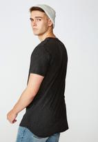 Factorie - Primitive nature curved graphic T-shirt - washed black