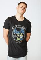 Factorie - Outlaw curved graphic T-shirt - washed black
