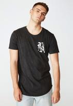 Factorie - LA rose curved graphic T-shirt - washed black