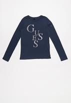 GUESS - Long sleeve Guess diamante tee - deck blue