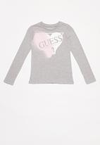 GUESS - Girls long sleeve Guess tri tee - grey