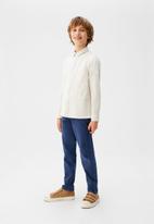 MANGO - Shirt dario - beige & white