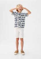 MANGO - T-shirt adan - white & blue