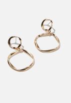 Rubi - Treasures delicate double circle earrings  - gold