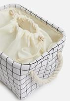 Sixth Floor - Small grid linen storage basket with drawstring - white
