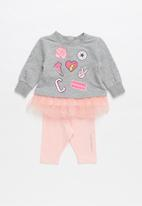 Converse - Converse girls tunic & legging set - pink & grey