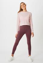 Cotton On - Cross back waffle long sleeve top -pink sherbet