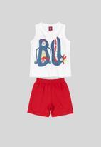 Bee Loop - Tank top & shorts set - red & white