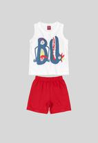 Bee Loop - Boys tank top & shorts set - red & white