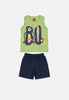 Bee Loop - Boys tank top & shorts set -  black & green