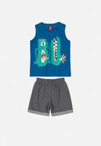 Bee Loop - Boys tank top & shorts set -  blue & grey