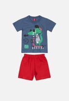 Bee Loop - Tee & shorts set -  blue & red