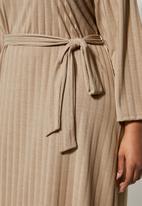 Superbalist - Rib knit tie drop shoulder dress - stone