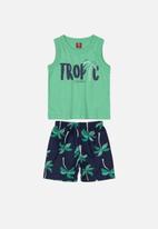 Bee Loop - Tank top & shorts set -  green & navy