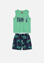 Bee Loop - Boys tank top & shorts set - green & navy
