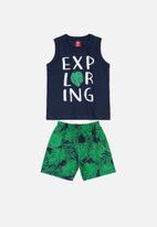 Bee Loop - Tank top & shorts set -  green & black