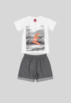 Bee Loop - Boys printed tee and shorts set - white & grey