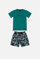 Quimby - T-shirt & shorts set - green & black