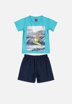 Bee Loop - Boys printed tee and shorts set - blue