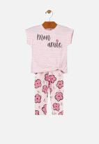 UP Baby - Girls printed tee & pants - multi
