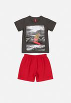 Bee Loop - Boys printed tee and shorts set - grey & red
