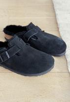 Birkenstock - Boston suede/sheepskin regular - black