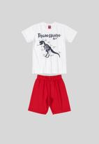 Bee Loop - Boys printed tee and shorts set - red & white