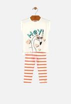 UP Baby - Girls tee & stripe legging set - white & red