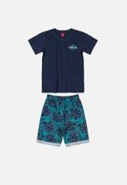 Bee Loop - Bermuda shorts & tee set - navy & blue
