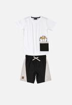 Quimby - Boys T-shirt & shorts set - black & white