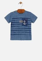 UP Baby - Boys stripe tee - blue