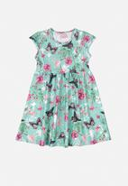 Quimby - Girls butterfly dress - blue