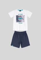 Quimby - Skate tee & shorts set - white & blue