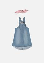 Quimby - Girls pinafore dress & hairband set - blue