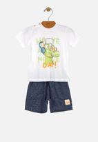 UP Baby - Boys T-shirt & shorts set - white & navy