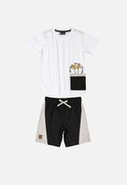 Quimby - T-shirt & shorts set - black & white