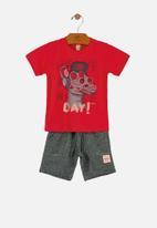 UP Baby - Boys T-shirt & shorts set - red & navy