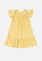 Quimby - Girls cut out shoulder dress - yellow