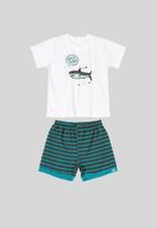 Quimby - T-shirt & bermuda shorts set - white & blue