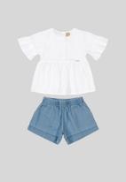 UP Baby - Girls blouse & shorts set - white & blue