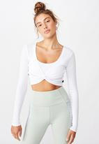 Cotton On - Twist long sleeve top - white