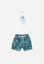 UP Baby - Bermuda shorts and T-shirt set - white & blue