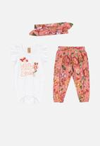 UP Baby - Bodysuit, pants & hairband set - multi