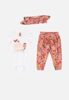 UP Baby - Girls bodysuit, pants & hairband set - multi