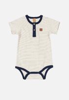 UP Baby - Boys striped bodysuit - cream & navy