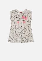 Bee Loop - Girls kitty T-shirt dress - grey