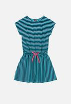 Bee Loop - Girls stripe dress - blue & black