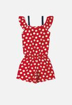 Bee Loop - Girls polka dot playsuit - red & white